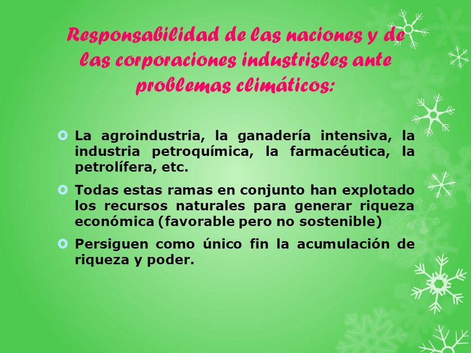 Responsabilidad de las naciones y de las corporaciones industrisles ante problemas climáticos: La agroindustria, la ganadería intensiva, la industria petroquímica, la farmacéutica, la petrolífera, etc.