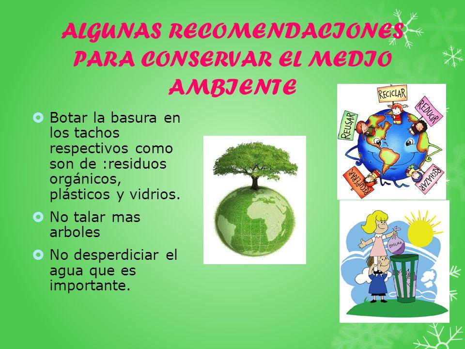 ALGUNAS RECOMENDACIONES PARA CONSERVAR EL MEDIO AMBIENTE Botar la basura en los tachos respectivos como son de :residuos orgánicos, plásticos y vidrios.
