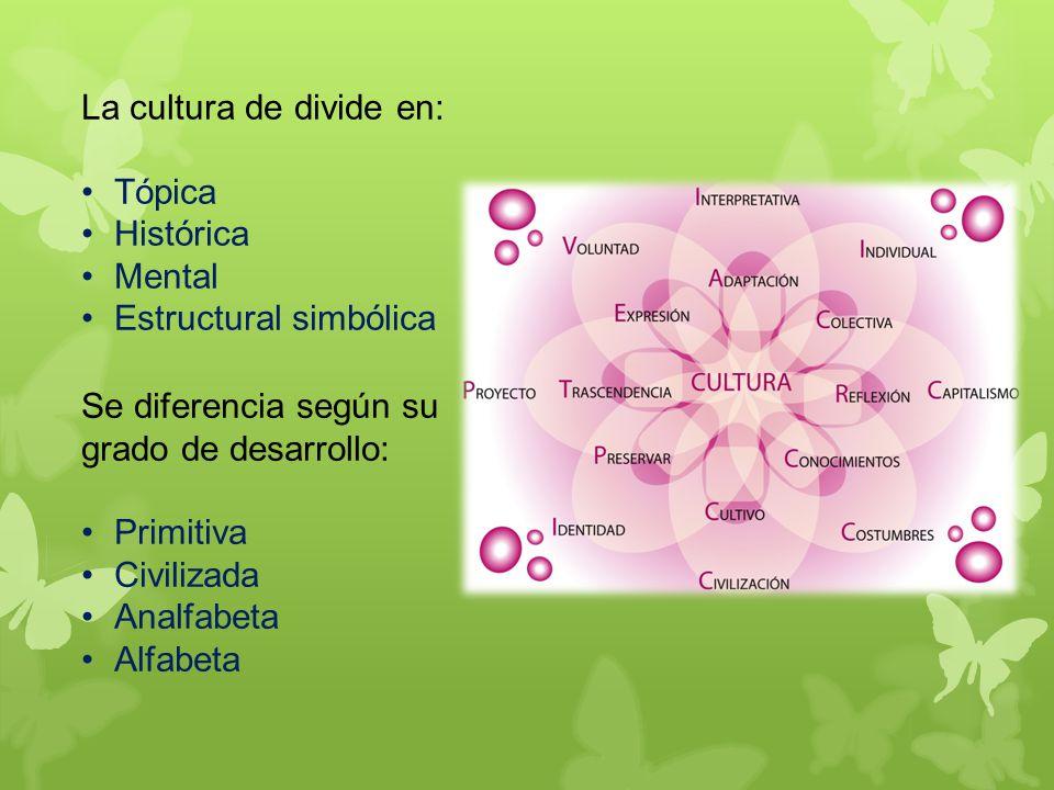 La cultura de divide en: Tópica Histórica Mental Estructural simbólica Se diferencia según su grado de desarrollo: Primitiva Civilizada Analfabeta Alfabeta