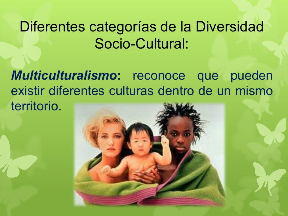 Diferentes categorías de la Diversidad Socio-Cultural: Multiculturalismo: reconoce que pueden existir diferentes culturas dentro de un mismo territorio.