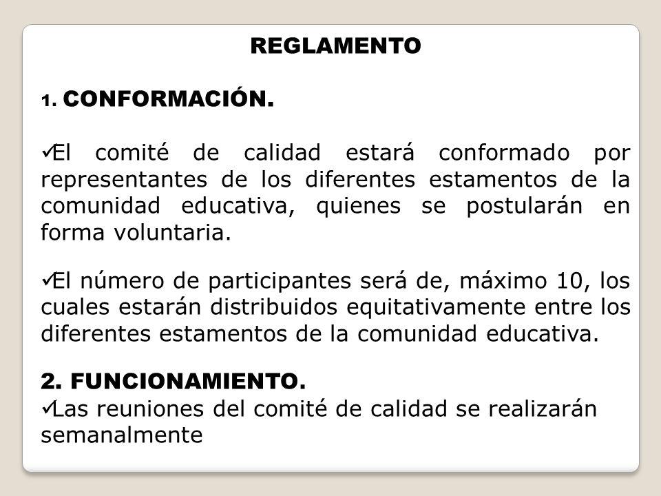 REGLAMENTO 1. CONFORMACIÓN. El comité de calidad estará conformado por representantes de los diferentes estamentos de la comunidad educativa, quienes