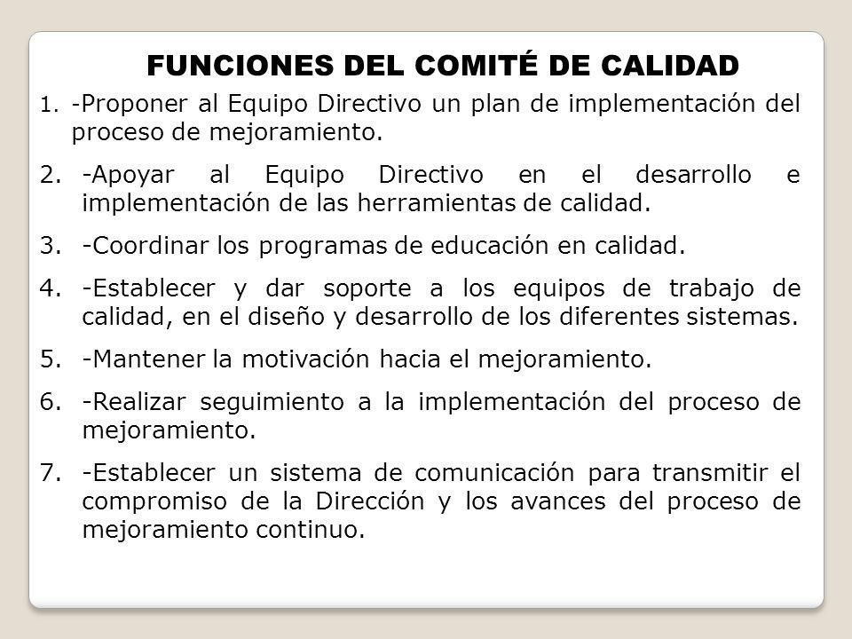 1.- Proponer al Equipo Directivo un plan de implementación del proceso de mejoramiento. 2.-Apoyar al Equipo Directivo en el desarrollo e implementació