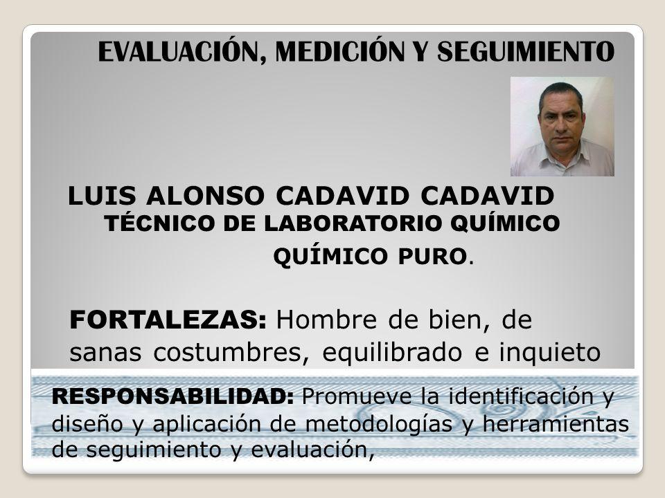 LUIS ALONSO CADAVID CADAVID TÉCNICO DE LABORATORIO QUÍMICO EVALUACIÓN, MEDICIÓN Y SEGUIMIENTO QUÍMICO PURO. FORTALEZAS: Hombre de bien, de sanas costu
