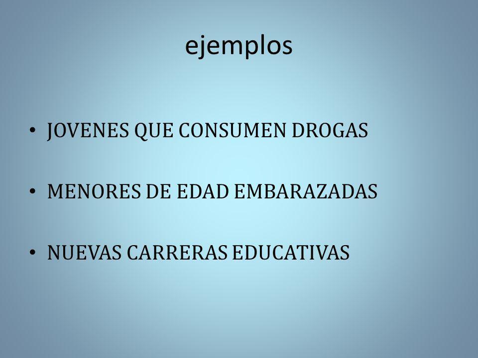ejemplos JOVENES QUE CONSUMEN DROGAS MENORES DE EDAD EMBARAZADAS NUEVAS CARRERAS EDUCATIVAS