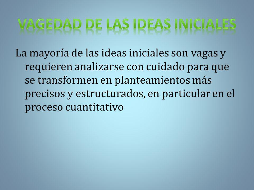 La mayoría de las ideas iniciales son vagas y requieren analizarse con cuidado para que se transformen en planteamientos más precisos y estructurados, en particular en el proceso cuantitativo