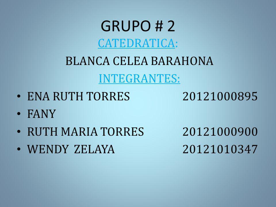 GRUPO # 2 CATEDRATICA: BLANCA CELEA BARAHONA INTEGRANTES: ENA RUTH TORRES20121000895 FANY RUTH MARIA TORRES20121000900 WENDY ZELAYA20121010347