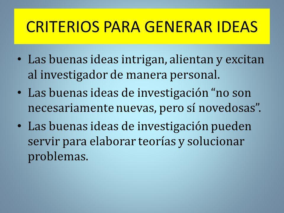 CRITERIOS PARA GENERAR IDEAS Las buenas ideas intrigan, alientan y excitan al investigador de manera personal.