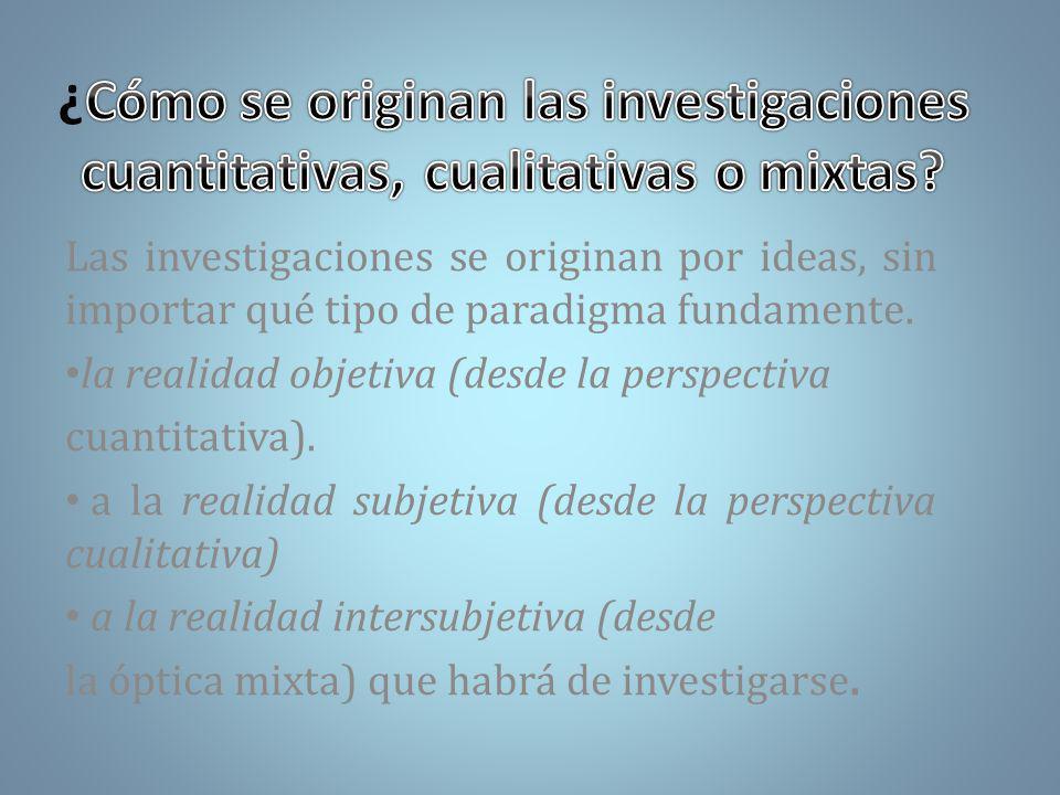 Las investigaciones se originan por ideas, sin importar qué tipo de paradigma fundamente.