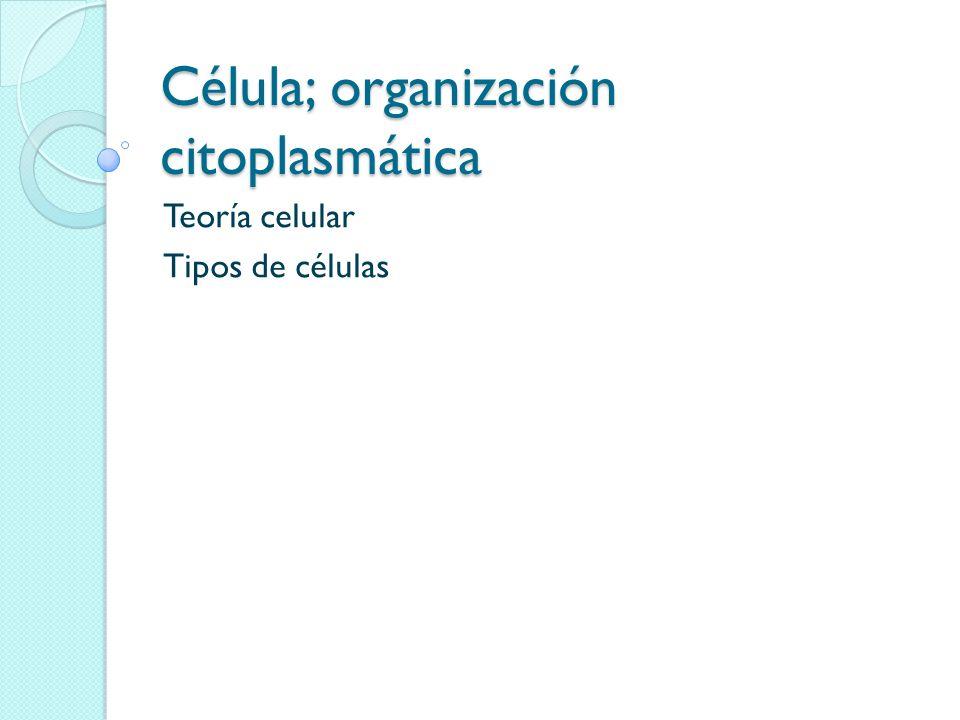 Célula; organización citoplasmática Teoría celular Tipos de células