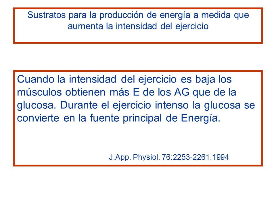 Cuando la intensidad del ejercicio es baja los músculos obtienen más E de los AG que de la glucosa. Durante el ejercicio intenso la glucosa se convier
