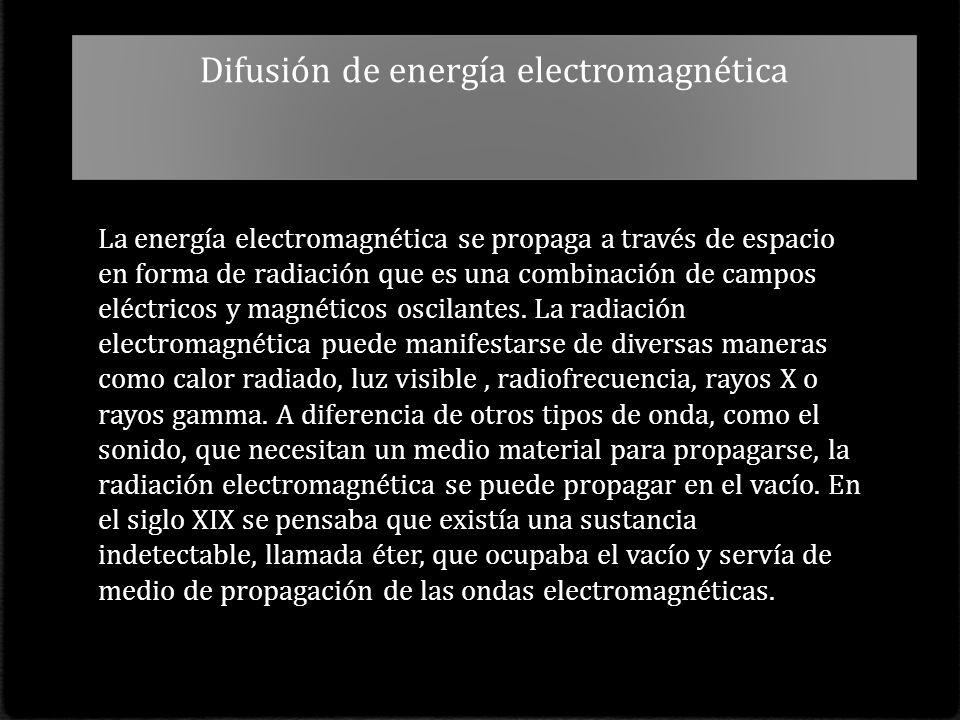 Difusión de energía electromagnética La energía electromagnética se propaga a través de espacio en forma de radiación que es una combinación de campos eléctricos y magnéticos oscilantes.