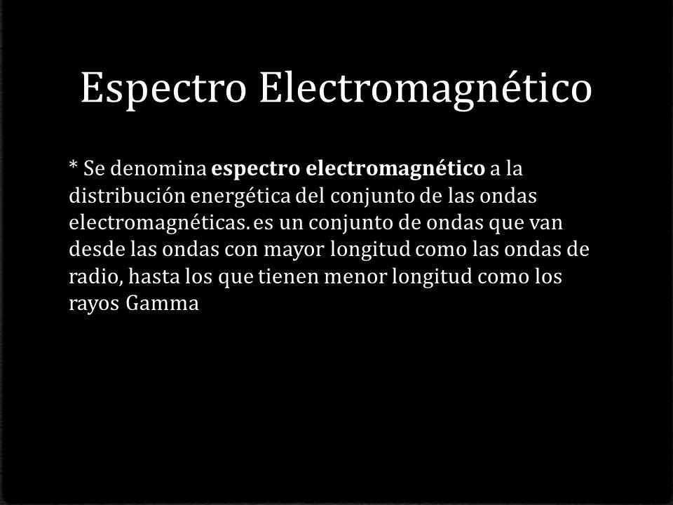 Espectro Electromagnético * Se denomina espectro electromagnético a la distribución energética del conjunto de las ondas electromagnéticas.