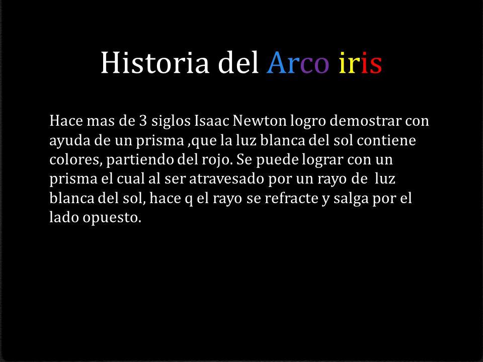 Historia del Arco iris Hace mas de 3 siglos Isaac Newton logro demostrar con ayuda de un prisma,que la luz blanca del sol contiene colores, partiendo del rojo.