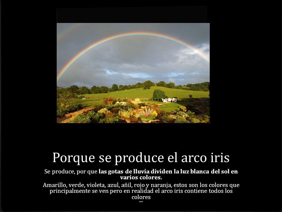 Porque se produce el arco iris Se produce, por que las gotas de lluvia dividen la luz blanca del sol en varios colores.