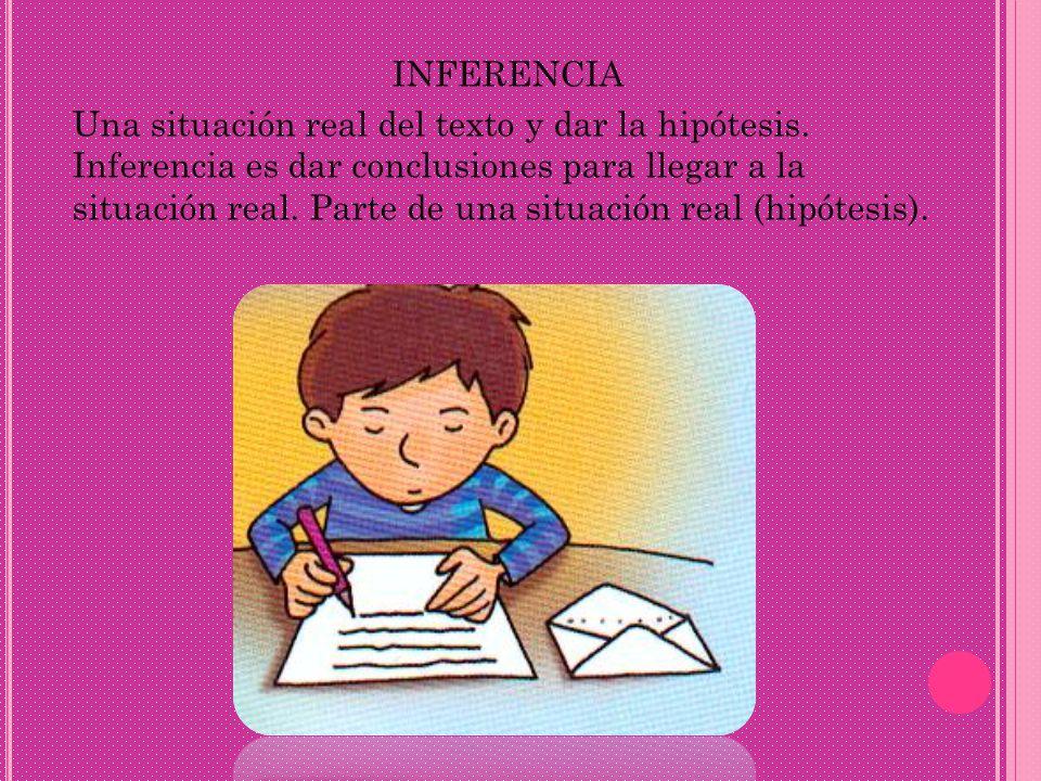 INFERENCIA Una situación real del texto y dar la hipótesis. Inferencia es dar conclusiones para llegar a la situación real. Parte de una situación rea