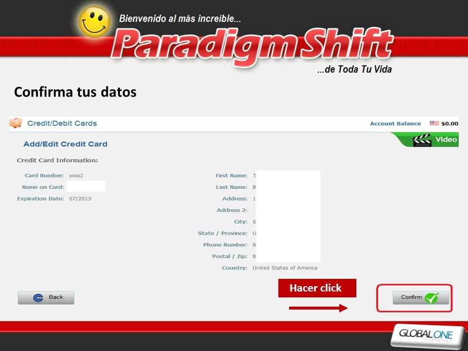 Confirma tus datos Hacer click