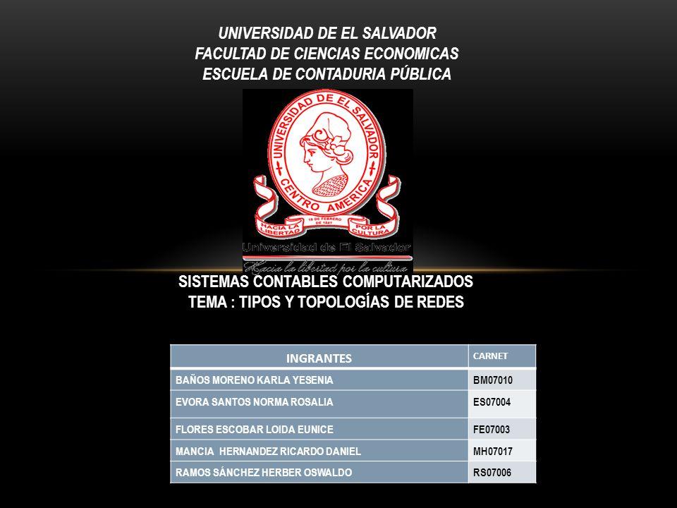 UNIVERSIDAD DE EL SALVADOR FACULTAD DE CIENCIAS ECONOMICAS ESCUELA DE CONTADURIA PÚBLICA INGRANTES CARNET BAÑOS MORENO KARLA YESENIABM07010 EVORA SANT