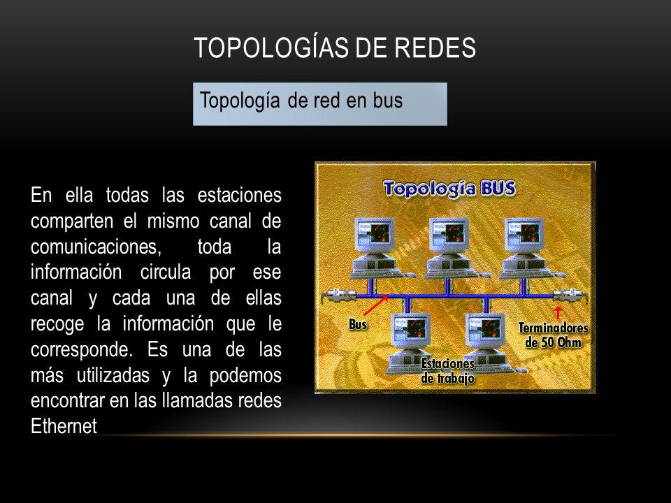 TOPOLOGÍAS DE REDES Topología de red en bus En ella todas las estaciones comparten el mismo canal de comunicaciones, toda la información circula por e