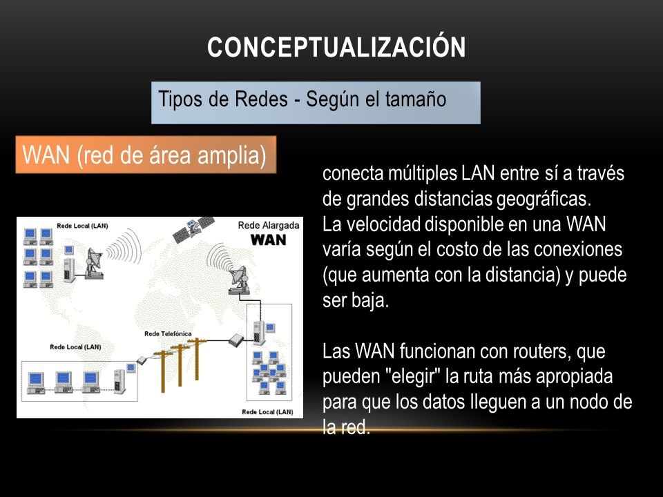 CONCEPTUALIZACIÓN Tipos de Redes - Según su tecnología de transmisión redes Broadcast Son las redes donde lo datos llegan a todas las maquinas de la red, un solo canal de comunicación.
