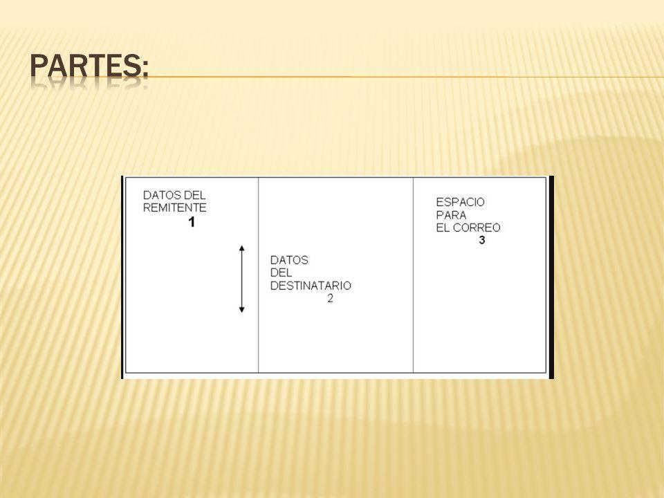 El sobre se visualiza en tercios y se distribuye de la siguiente manera: Tercio Izquierdo.