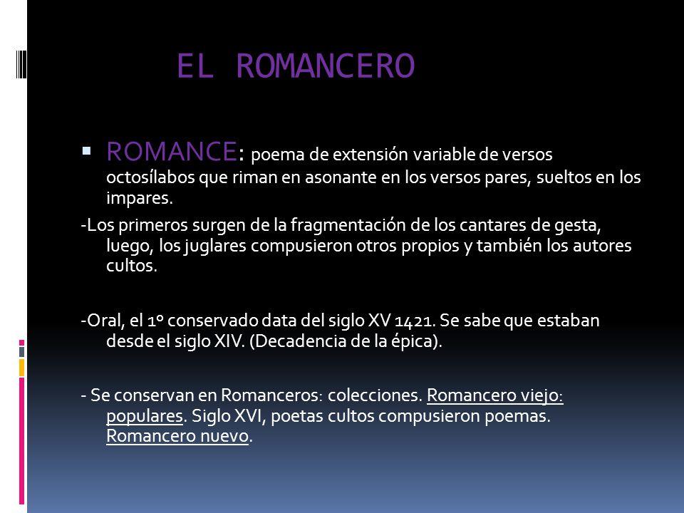 EL ROMANCERO ROMANCE: poema de extensión variable de versos octosílabos que riman en asonante en los versos pares, sueltos en los impares. -Los primer