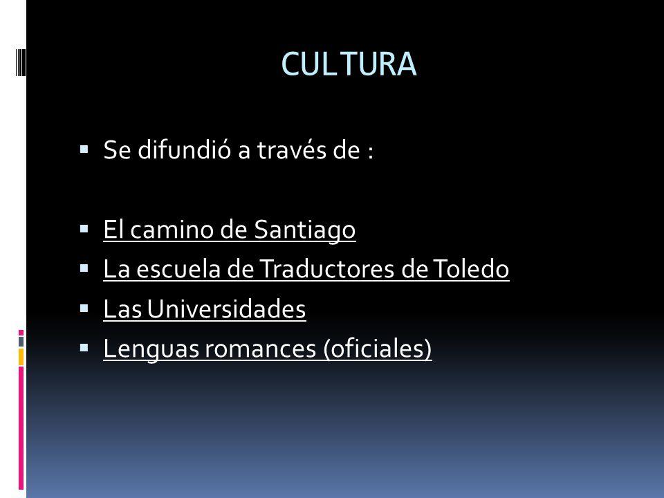 CULTURA Se difundió a través de : El camino de Santiago La escuela de Traductores de Toledo Las Universidades Lenguas romances (oficiales)