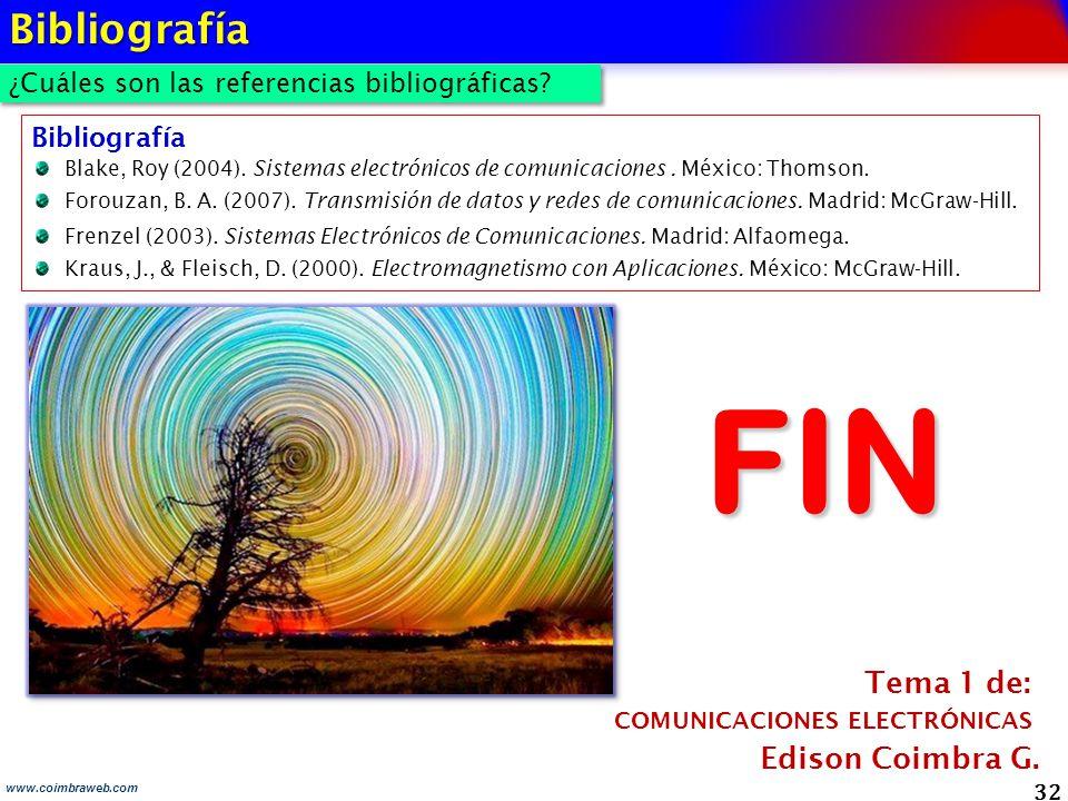 32 www.coimbraweb.com Bibliografía Blake, Roy (2004). Sistemas electrónicos de comunicaciones. México: Thomson. Forouzan, B. A. (2007). Transmisión de