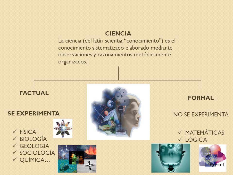 CIENCIA La ciencia (del latín scientia, conocimiento) es el conocimiento sistematizado elaborado mediante observaciones y razonamientos metódicamente organizados.