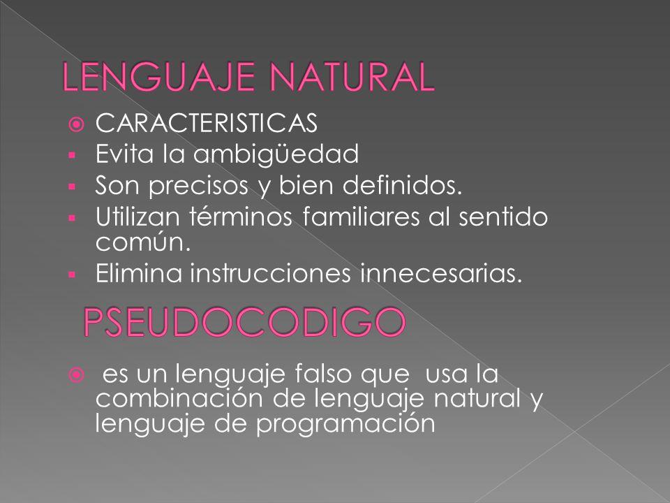 CARACTERISTICAS Evita la ambigüedad Son precisos y bien definidos. Utilizan términos familiares al sentido común. Elimina instrucciones innecesarias.
