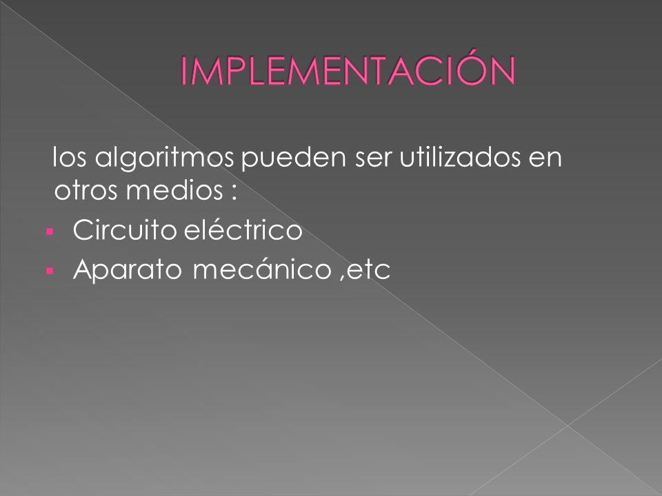 los algoritmos pueden ser utilizados en otros medios : Circuito eléctrico Aparato mecánico,etc