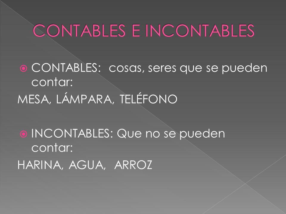 CONTABLES: cosas, seres que se pueden contar: MESA, LÁMPARA, TELÉFONO INCONTABLES: Que no se pueden contar: HARINA, AGUA, ARROZ