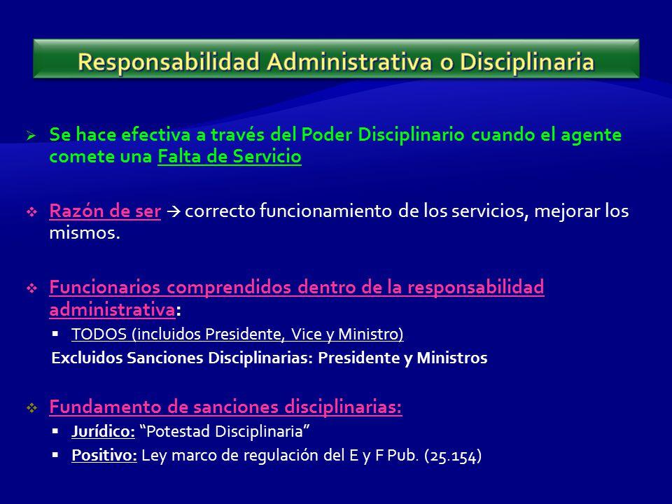 Se hace efectiva a través del Poder Disciplinario cuando el agente comete una Falta de Servicio Razón de ser correcto funcionamiento de los servicios, mejorar los mismos.