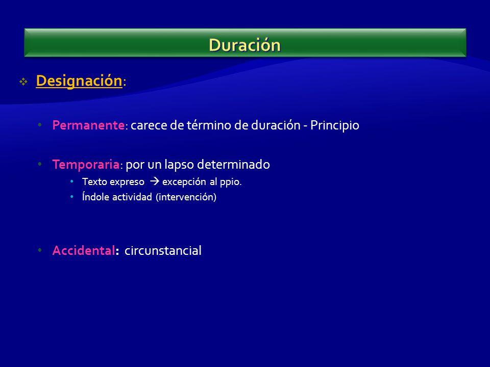 Designación: Permanente: carece de término de duración - Principio Temporaria: por un lapso determinado Texto expreso excepción al ppio.