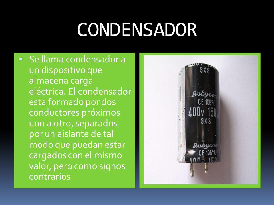 CONDENSADOR Se llama condensador a un dispositivo que almacena carga eléctrica.