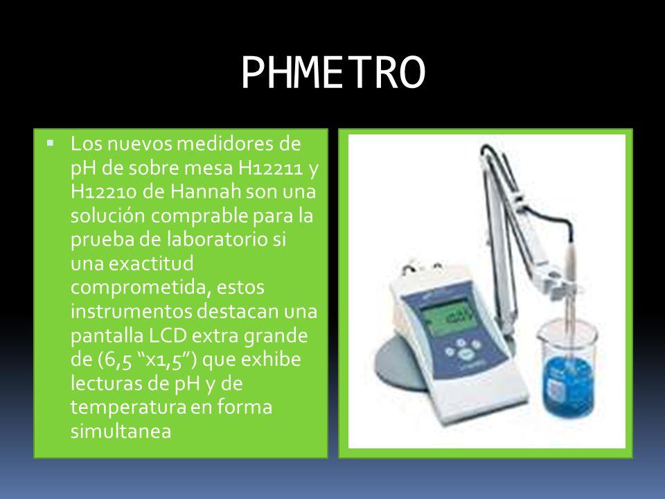 PHMETRO Los nuevos medidores de pH de sobre mesa H12211 y H12210 de Hannah son una solución comprable para la prueba de laboratorio si una exactitud comprometida, estos instrumentos destacan una pantalla LCD extra grande de (6,5 x1,5) que exhibe lecturas de pH y de temperatura en forma simultanea