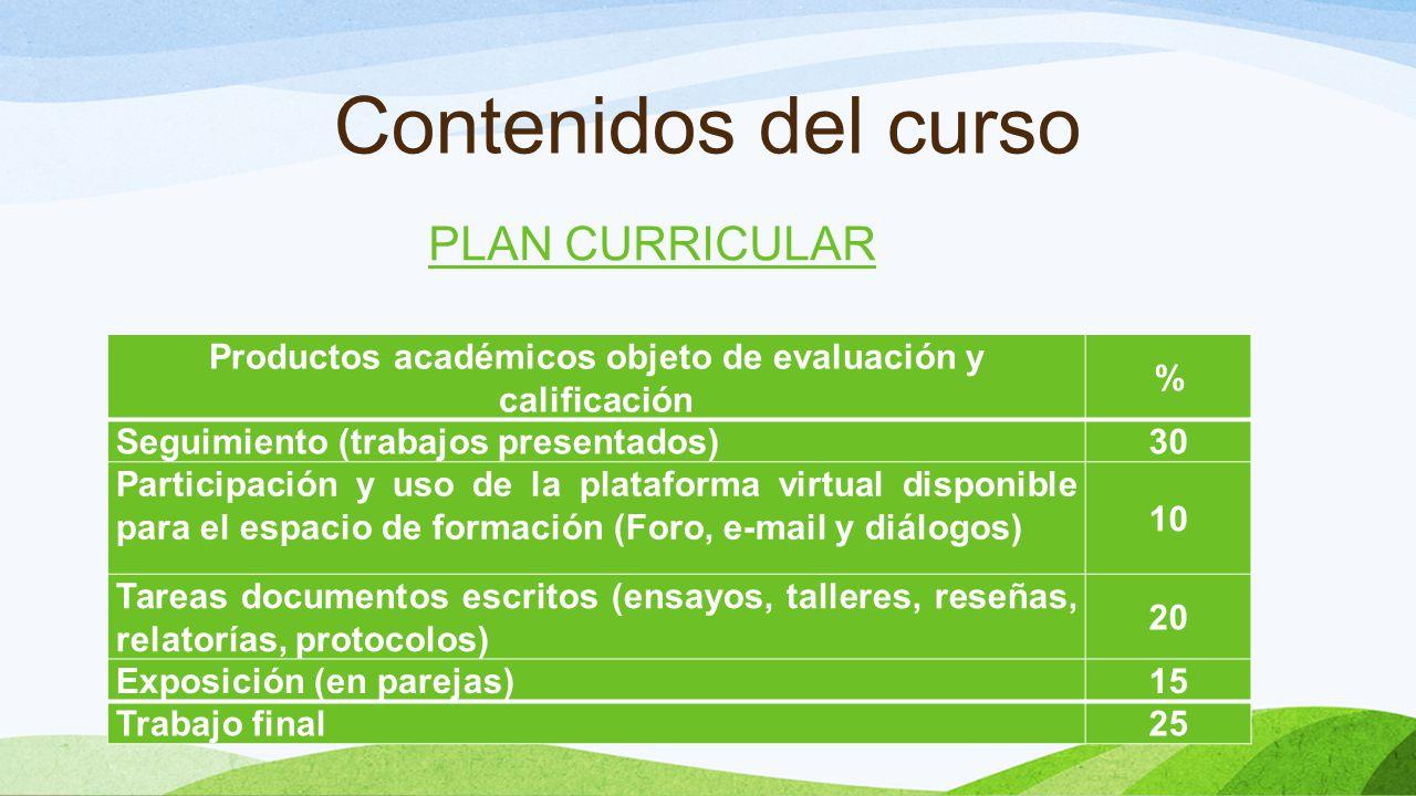 Contenidos del curso Productos académicos objeto de evaluación y calificación % Seguimiento (trabajos presentados) 30 Participación y uso de la plataf