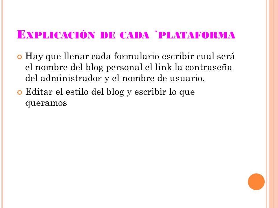 E XPLICACIÓN DE CADA ` PLATAFORMA Hay que llenar cada formulario escribir cual será el nombre del blog personal el link la contraseña del administrador y el nombre de usuario.