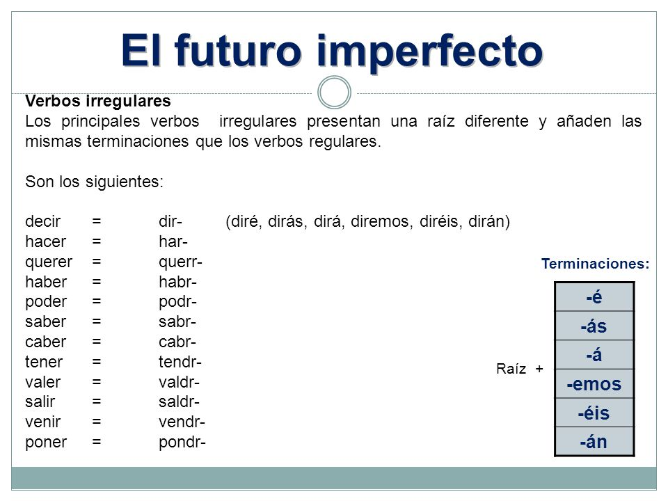 -é -ás -á -emos -éis -án Raíz + Terminaciones: Verbos irregulares Los principales verbos irregulares presentan una raíz diferente y añaden las mismas terminaciones que los verbos regulares.