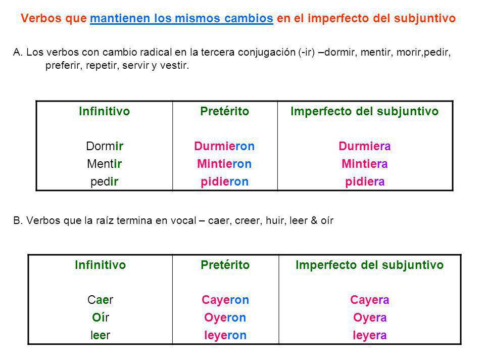 Verbos que mantienen los mismos cambios en el imperfecto del subjuntivo A. Los verbos con cambio radical en la tercera conjugación (-ir) –dormir, ment