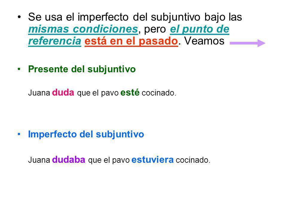 Se usa el imperfecto del subjuntivo bajo las mismas condiciones, pero el punto de referencia está en el pasado. Veamos Presente del subjuntivo Juana d