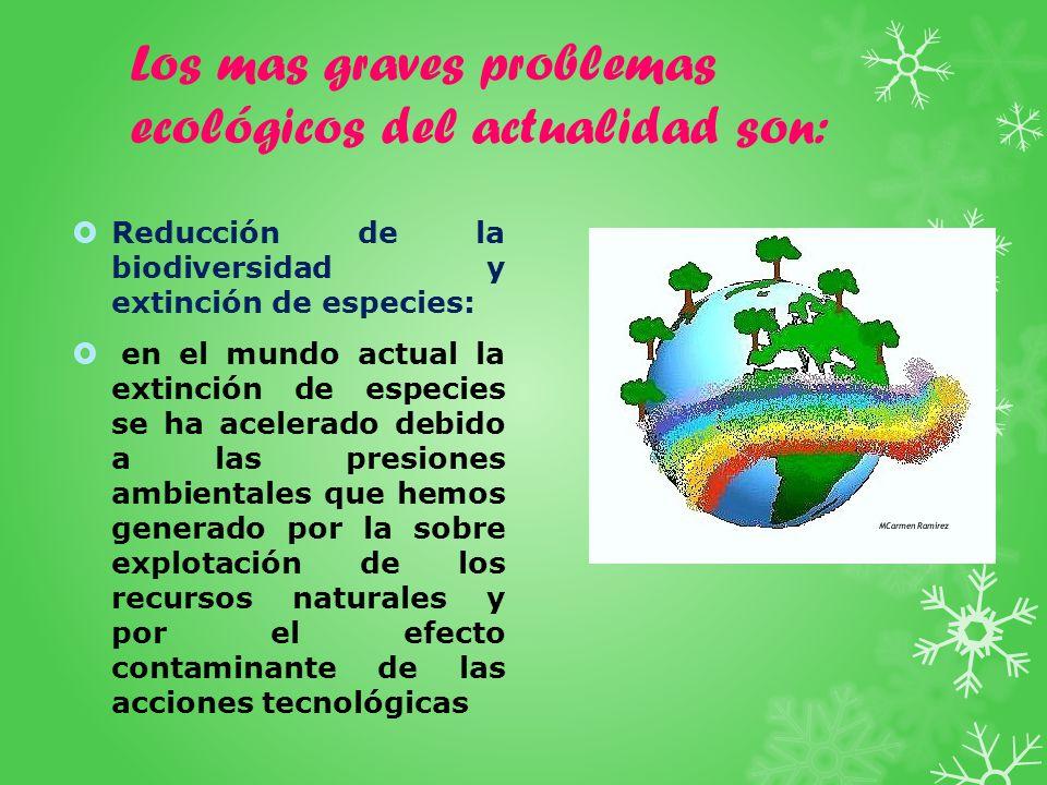 Los mas graves problemas ecológicos del actualidad son: Reducción de la biodiversidad y extinción de especies: en el mundo actual la extinción de espe