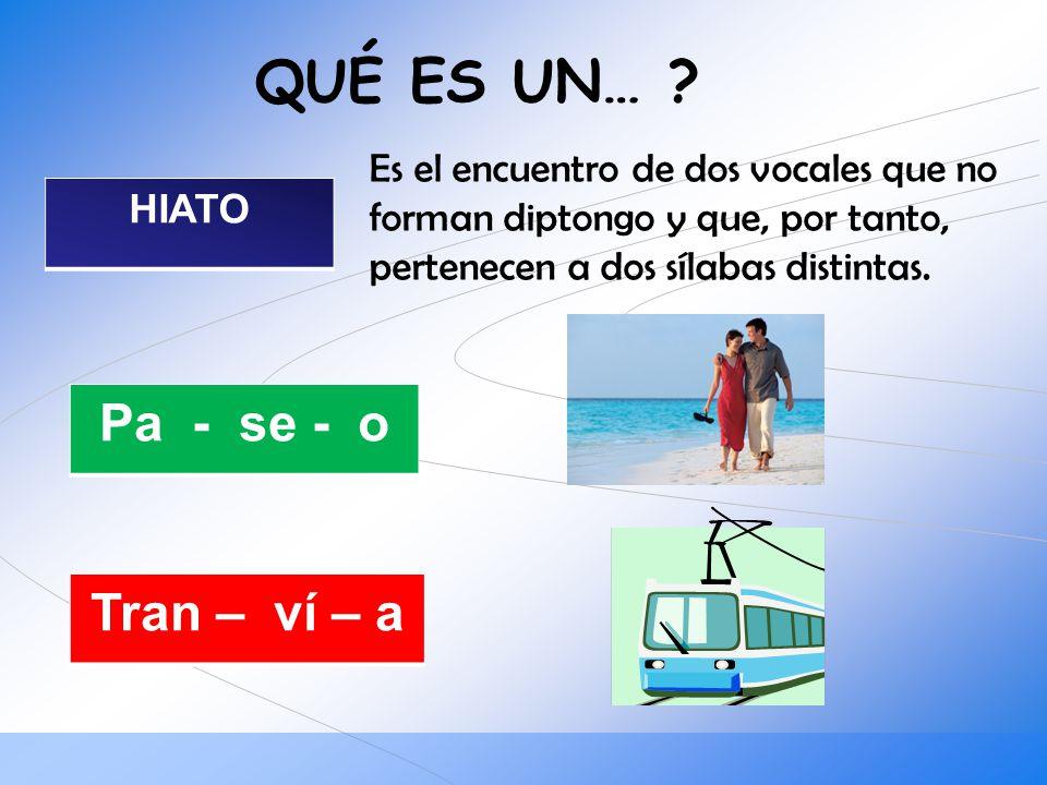 QUÉ ES UN… ? HIATO Es el encuentro de dos vocales que no forman diptongo y que, por tanto, pertenecen a dos sílabas distintas. Pa - se - o Tran – ví –