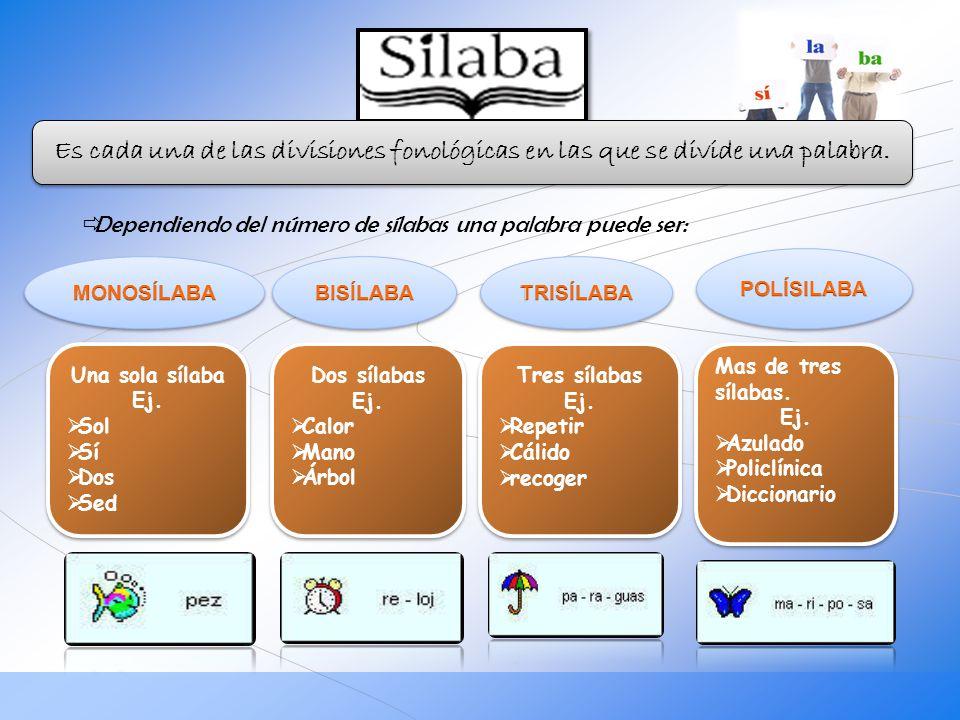Dependiendo del número de sílabas una palabra puede ser: Una sola sílaba Ej. Sol Sí Dos Sed Una sola sílaba Ej. Sol Sí Dos Sed Dos sílabas Ej. Calor M