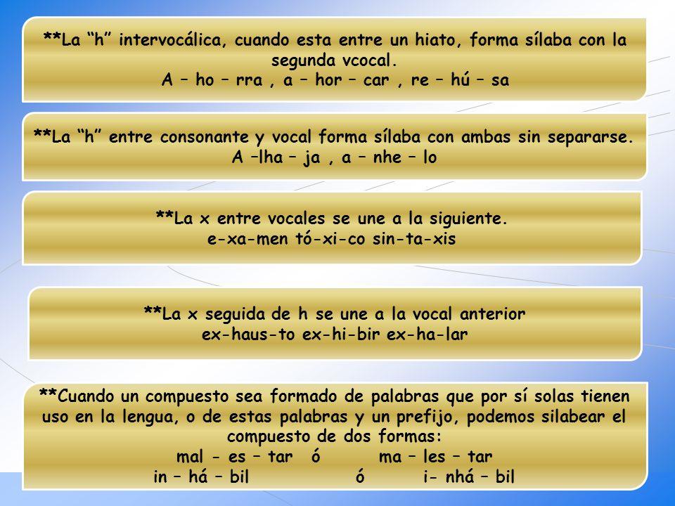 **La h intervocálica, cuando esta entre un hiato, forma sílaba con la segunda vcocal. A – ho – rra, a – hor – car, re – hú – sa **La h entre consonant