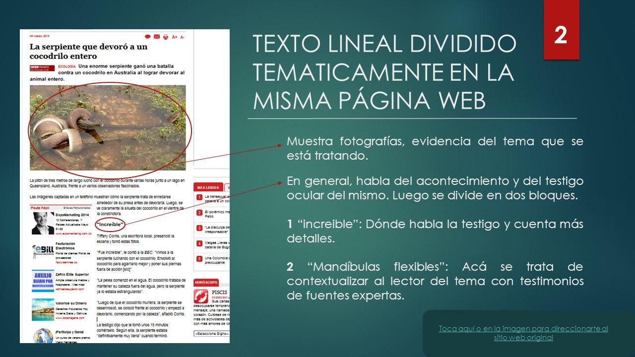 TEXTO LINEAL DIVIDIDO TEMATICAMENTE EN LA MISMA PÁGINA WEB 2 Muestra fotografías, evidencia del tema que se está tratando. En general, habla del acont
