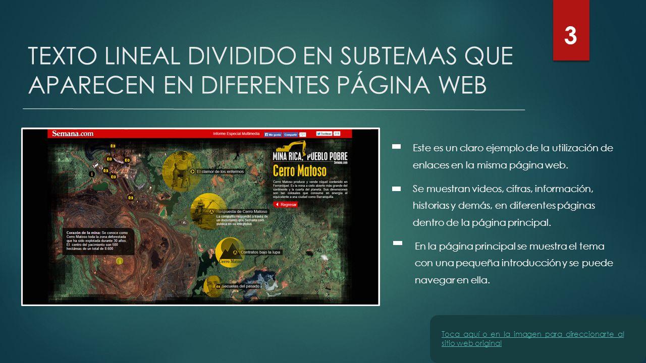 TEXTO LINEAL DIVIDIDO EN SUBTEMAS QUE APARECEN EN DIFERENTES PÁGINA WEB Este es un claro ejemplo de la utilización de enlaces en la misma página web.