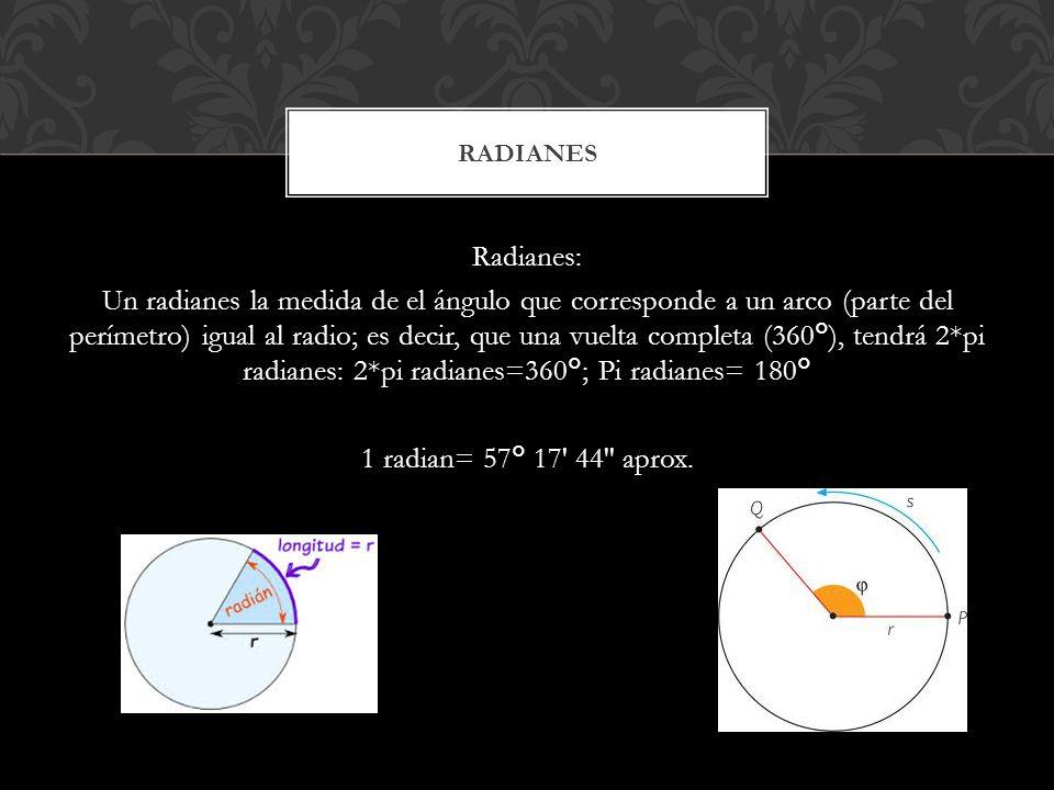 Radianes: Un radianes la medida de el ángulo que corresponde a un arco (parte del perímetro) igual al radio; es decir, que una vuelta completa (360°),