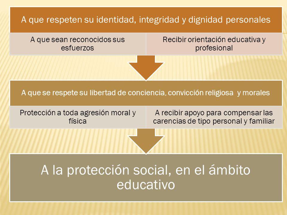 A la protección social, en el ámbito educativo A que se respete su libertad de conciencia, convicción religiosa y morales Protección a toda agresión m