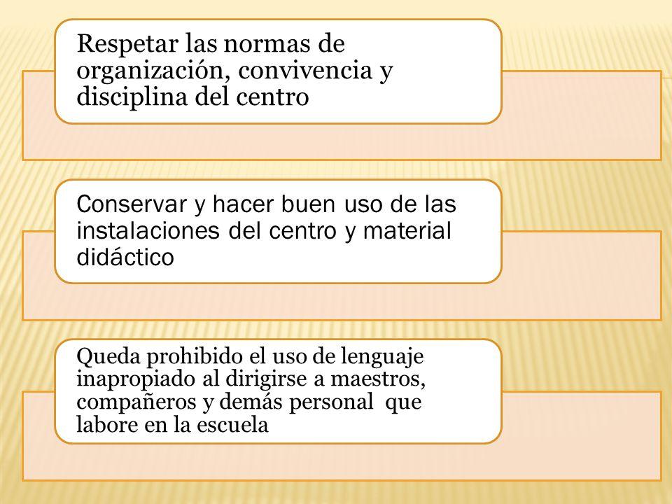 Respetar las normas de organización, convivencia y disciplina del centro Conservar y hacer buen uso de las instalaciones del centro y material didácti