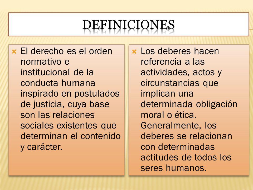 El derecho es el orden normativo e institucional de la conducta humana inspirado en postulados de justicia, cuya base son las relaciones sociales exis